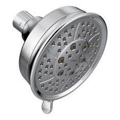 "Chrome four-function 4-3/8"" diameter spray head standard showerhead"