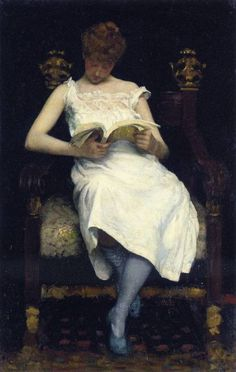 Girl Reading (1893). Edward Simmons (American, Impressionist, 1852-1931). Oil on canvas.