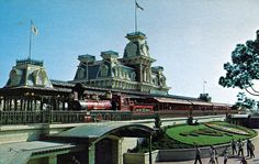 Vintage Walt Disney World Steam Train Station Postcard
