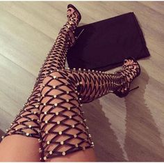 Find More Women's Boots Information about New Arrival Shoes Woman Rivets Cage Lace Up Thigh High Boots High Heels Cut Out Summer Boots Gladiator Sandals Women Boots Botas,High Quality Women's Boots from Best Shoes Boutique  on Aliexpress.com