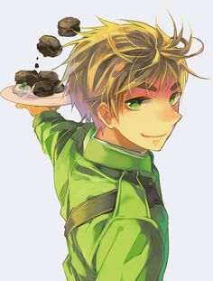 Hetalia! UK ENGLAND ARTHUR KIRKLAND and FMB!!! but you dont see fmb, but the foating scones tell u he's there!