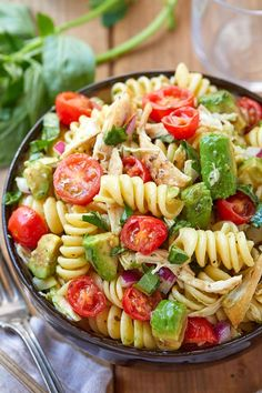 Healthy chicken pasta salad chicken salad recipe packed with flavor protein and veggies! this healthy chicken pasta salad is loaded with tomatoes avocado and fresh basil recipe by 9 crazy filling protein packed keto salad recipes to lose weight Healthy Chicken Pasta, Salad Chicken, Basil Chicken, Basil Pasta, Shrimp Pasta, Healthy Pasta Salad, Heathy Pasta, Healthy Recipes With Chicken, Healthy Cooking Recipes