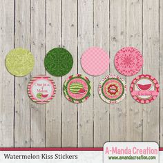 Watermelon Party Printable Kiss Stickers, make up a bunch of these and tie them up in a goody bag for an instant treat!