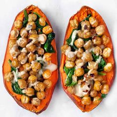 Chickpea Spinach Stuffed Sweet Potatoes with Tahini | Last Ingredient #Chickpea #garbanzobeans #garbanzos #chickpeas #cook #dinner #vegan #veganrecipes #veganfood #healthylifestyle #healthy #healthyfood #nutrition Tofu Stir Fry, Crispy Chickpeas, Canned Chickpeas, Roh Vegan, Vegan Lunches, Kid Lunches, Vegan Meals, Vegan Dishes, Sunday Meal Prep