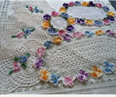 Variegated Doilies Crochet Pattern Set 1: Rose & Pansy