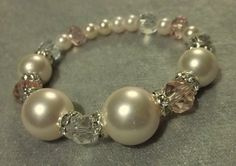 Bridal bracelet Swarovski glass crystals ivory by kathyjohnson3, $38.00