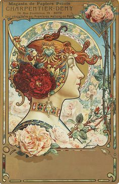 Louis -Théophile Hingre - Advertisement for a wallpaper company (Charpentier-Deny) 1890, photo by Art & Vintage via Flickr. https://musetouch.org/