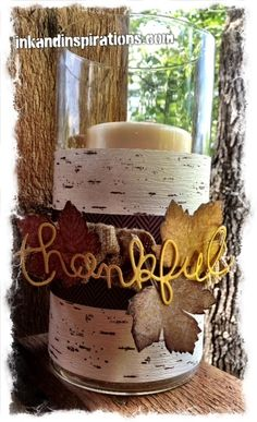 Stampin' Up! Thanksgiving Tablescape, Burlap Ribbon, and Magnificent Maple combine for the DIY fall centerpiece. www.inkandinspirations.com