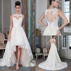 acef02be247d6 Discount Plus Size Lace A Line Wedding Dresses 2016 High Low Court Train  Summer Beach Bridal