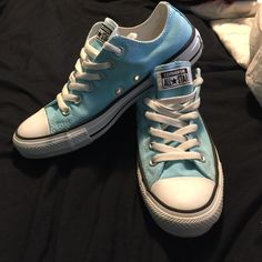 Blue converse! only worn once!! Converse Shoes Sneakers