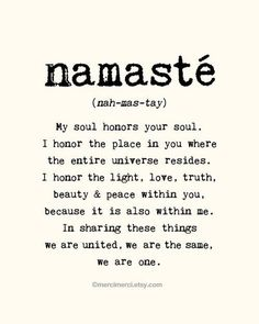 namasté... I found this really beautiful