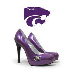 """Every Woman a Wildcat"" in these stunning purple patent leather heels with a jet black heel and a concealed platform.  Our trademark rustic chrome hardware brings the Powercat to life.  #ksu #emaw"