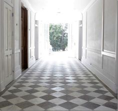 Obsessed with the gray and white checkered floor.- This is what we finally chose for floors!!!YAY!#floortilingideas