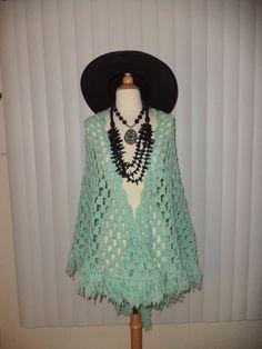 Vtg Pistachio Crochet Shawl w/ Fringe