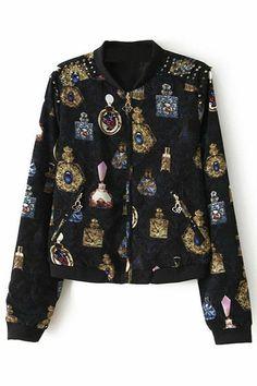 Studed Baroque Perfume Print Jacket