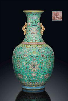 A Famille Rose Turquoise-Ground Bottle Vase