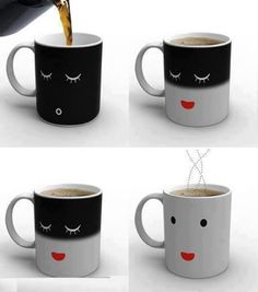 Coffee cup wakes up when you put hot coffee in it!!!