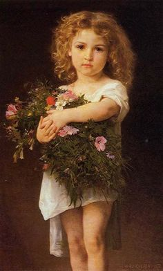 off Hand made oil painting reproduction of Child With Flowers, one of the most famous paintings by William-Adolphe Bouguereau. The French artist William-Adolphe Bouguereau painted the innocent portrait. William Adolphe Bouguereau, Vintage Illustration, Munier, Holding Flowers, Foto Art, Beautiful Paintings, Painting & Drawing, Painting Lessons, Art History