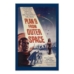 Our Plan 9 From Outer Space Vintage Movie Poster is a cool gift idea for Ed Wood fans! Sure to be appreciated by anyone who enjoys spectacularly bad 1950's era science fiction movies. Available in a variety of sizes, including a framing option! #plan #9 #from #outer #space #ed #wood #science #fiction #gifts #vintage #movie #art #movie #gifts #1950 #science #fiction #movie #art #tor #johnson #vampira #oddfrogg #buy #for #her #gifts #for #him #gifts #for #men #vintagefrogg #space #custom