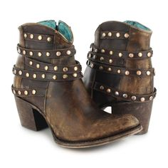 Corral Women's Cowhide Round Toe Boot with Zipper and Studs C2993