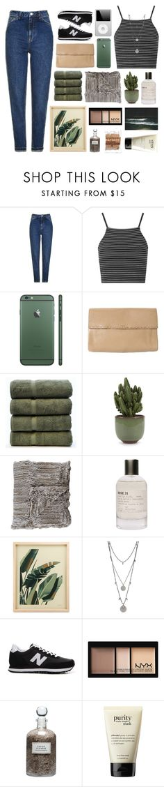 """""""Untitled #2856"""" by tacoxcat ❤ liked on Polyvore featuring Topshop, Rochas, Bare Cotton, Adrienne Landau, Le Labo, Vince Camuto, New Balance, NYX, Mullein & Sparrow and philosophy"""