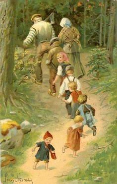 peintre illust jenny nystrom - Page 4 Fable, Vintage Fairies, Walk In The Woods, Vintage Postcards, Vintage Cards, Typography Prints, Scandinavian Christmas, Nursery Rhymes, Vintage Children