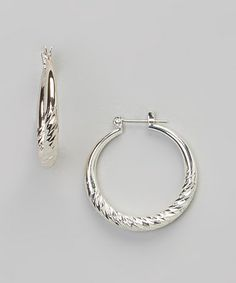 Another great find on #zulily! Silver Twist Hoop Earrings #zulilyfinds