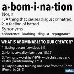 Okay. If you are going to bash on homosexuality because it's against your religion. Then you need to bash on everything else that is against your religion. Shellfish, clothes with more than one material, bacon. Don't choose what laws you follow. It doesn't make 'God' favored you anymore.....