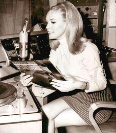 Chris Noel hosting her Vietnam radio show.