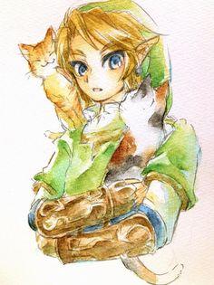 Link and cats- Twilight Princess