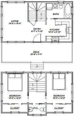 28x16 Tiny House - 821 sq ft - Excellent Floor Plans