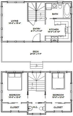 28x16 Tiny House - 821 sq ft - Excellent Floor Plans