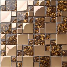 Metal mosaic tile golden kitchen backsplash tile bath wall tile resin 1941 - modern - kitchen tile - other metro - FIFYH.com