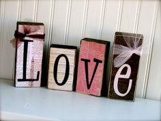 Love Blocks Set  Valentines Wood Blocks Set by doubledutydecor, $16.95