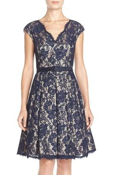 Eliza J Pleat Lace Fit & Flare Dress (Regular & Petite) available at #Nordstrom
