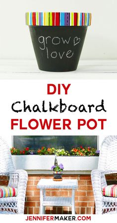 Make your own chalkboard flower pot with a custom painted rim | JenniferMaker.com