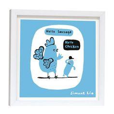Lámina enmarcada Hello Chicken Blue de Simone Lia, 23x23cm