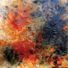"""Through the Cracks""...Encaustic, Mixed Media on Composted Fabric/Wood Panel...by John Skrabalak"