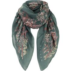 Jigsaw Orchid Floral Scarf (£49) ❤ liked on Polyvore featuring accessories, scarves, floral, green, ribbon scarves, print scarves, green scarves, floral print scarves and green shawl