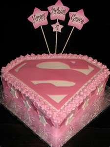 superman pink cake
