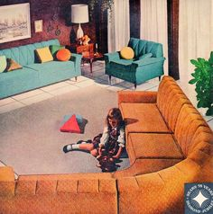 "Not that styles repeat or anything...those triangle pillows always confounded me. ""Sears furniture, early 1960s"""