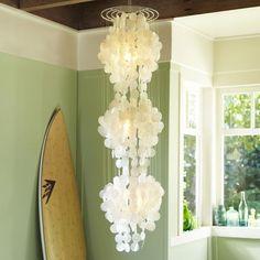 Capiz 3-tier chandelier for her reading nook