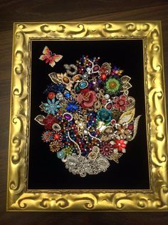 Framed Vintage Costume Jewelry Flower Bouquet Sparkling Art Not Christmas Tree  | Jewelry & Watches, Vintage & Antique Jewelry, Costume | eBay!