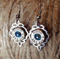 Bullet earrings. Silver dangle earrings with bullet casing on Etsy, $17.99