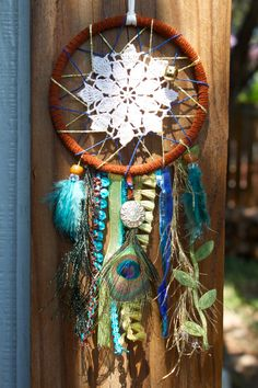 Dreamcatcher - Blue, Green & Gold w/ Peacock feather
