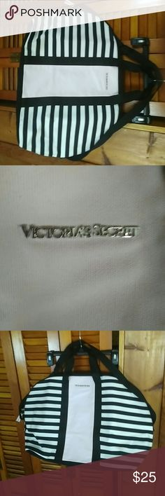 Victoria Secret Overnight Bag/ Gym Bag Roomy, Black/White Striped w/ pink going down the center...VS Emblem on front see pic...Brand New! Victoria's Secret Bags Travel Bags