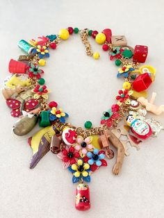 Vintage Toy Necklace Flower Necklace Statement Babes In