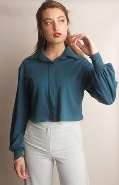 Teal shirt that will pair perfectly with denim jeans. Ever wonder how to dress up a pair of jeans, this is the perfect blouse for that. Teal Shirt, Mint Green, Button Up Shirts, Dress Up, Buttons, Long Sleeve, Sleeves, Model, Fashion Tips