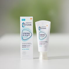 Whiter teeth starts with strong tooth enamel. Learn how Pronamel® Strong and Bright Mint toothpaste can help strengthen enamel, while removing stains for a whiter smile. Dental Hygiene, Dental Care, Medical Packaging, Food Packaging, Tooth Enamel, Stronger Teeth, Dental Facts, Receding Gums, Advertising And Promotion