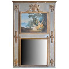 French Antique Louis XVI Style Trumeau In Painted and Gilt Wood | From a unique collection of antique and modern trumeau mirrors at http://www.1stdibs.com/furniture/mirrors/trumeau-mirrors/